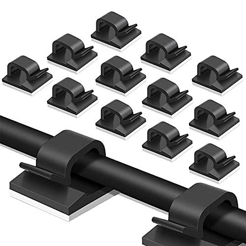 CJBIN Pinzas adhesivas para cables, 120 unidades, con almohadillas adhesivas fuertes para el hogar, escritorio, oficina, cable de carga USB, PC, cable de TV y cable de audio, etc. (negro)
