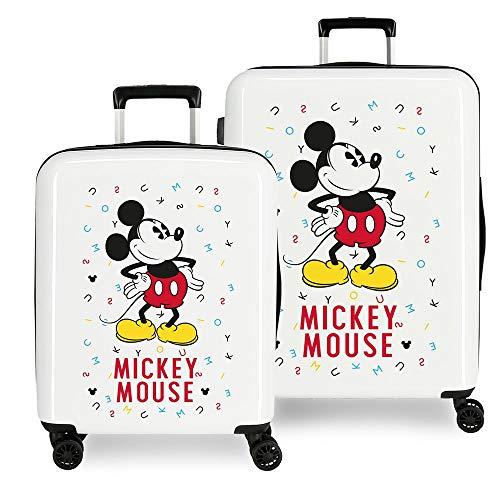 Disney Mickey Style Juego de Maletas Multicolor 55/68 cms Rígida ABS Cierre combinación 119.4L 4 Ruedas Dobles Equipaje de Mano