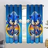 Sonic the Hedgehog Cortinas Chid personalizadas 2 paneles de tratamiento de ventana Set 3D Cartoon Kids Curtain W55 x L45