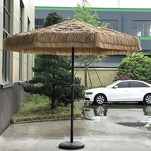Susany Parasol Sombrilla, Sombrilla de Paja, Playa de Hawaii, Diámetro de 2.7 M, con Manivela, Protección UV, para Jardines, Balcones Y Patios Al Aire Libre, Base No Incluida