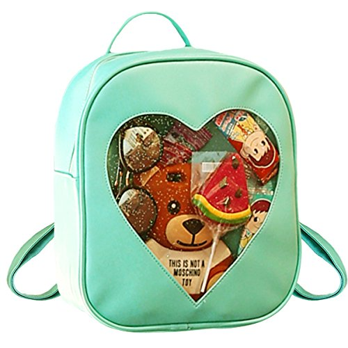 Goodbag Clear Candy Ita Bag Transparent Love Heart Backpack Casual Cute Backpacks for Women(Green)