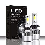 YEZIO Bombillas de Luces de Coche, 16000lm Mejorada S2 LED Faro de Coche con potentes Chips de mazorca H1 H3 H4 H7 H8 H9 H1180 881 9004 9005 9006 9007 Lámparas LED (Socket Type : H3)