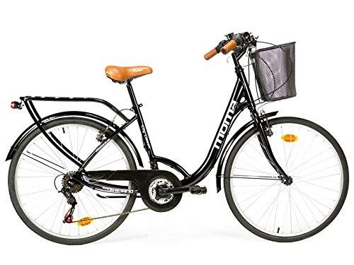 """Moma Bikes City Classic 26""""- Bicicleta Paseo, Aluminio , Cambio Shimano TZ-50 18 vel., Negro"""