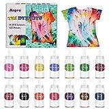 Anpro 160pcs DIY Teinture Textile 14 Couleurs * 100ml kit tie Dye,Teinture Tissus de Teinture permanente Non Toxique pour,Très approprié pour teindre des T-Shirts, des Pantalons, des Jupes, etc.