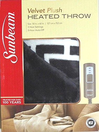 Sunbeam Heated Throw Reversible Grey White Lattice 50'x60'