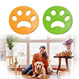 Lerioly 2-Pack Fur Zapper Pet Hair Remover for Laundry Dogs and Cats Lint Rolled Brushes Washing Machine Remover Reusable Catcher for Clothes, Couch and Bedding, Dryer Sheets(Green-Orange)