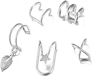 5 Piece Women Cute Ear Cuff Cross Ear Cuff for Non-pierced for Girls Ear Clip Earrings Minimalist Earrings Cartilage Ear Cuff Simple Fashion Unique Jewelry Gift for Her (silver)