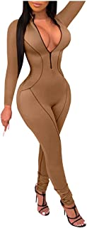 Women Fashion V-Neck Belted Jumpsuit Long Party Club Playsuits Jumpsuits