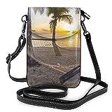Bolso ligero de piel sintética para teléfono celular, Paradise Beach con hamaca, palmeras de coco, pequeñas bolsas cruzadas de hombro para mujer