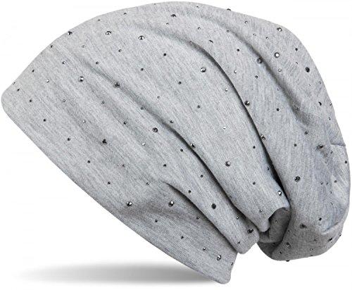 styleBREAKER Klassische Beanie Mütze mit edler Strass-Nieten Applikation, Unisex 04024037, Farbe:Hellgrau meliert