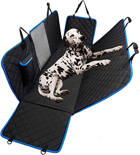 Dog Hammock for Car Back seat with Mesh Visual Window, Side Flaps with Zipper, Padded 4 Layers Heavy Duty Dog Hammock with Storage Bag, Scratch Proof Nonslip Pet Car Seat Cover