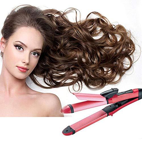 Plancha de pelo, revestimiento cerámica, pantalla digital, 230° C, calentando en 15 s, color oro rosado de cerámica de turmalina rizador profesional mini