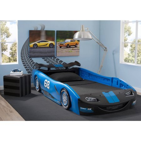 Delta Children Turbo Race Car Twin Bed | 47.5W x 22.5H x 94D (Blue)