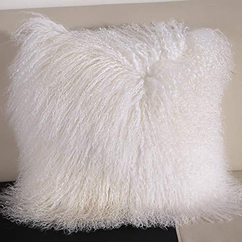 Funda de cojín de piel de oveja de piel de oveja mongol tibetana 100% piel de oveja de color blanco, 50,8 x 50,8 cm