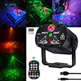 Stage and led Lights Rechargeable KisMee DJ Disco Projector Party Lights Sound Activated Time Function with Remote Control for Xmas Club Bar Halloween Decorations Birthday Wedding (USB Battery)