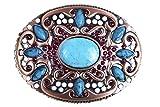Damen-Gürtelschnalle, Wechsel-Schnalle, ovale Form mit modischen Steinen in rot, weiß und türkis besetzt. Kupferfarbene Metall-Ornamente. Country-Style