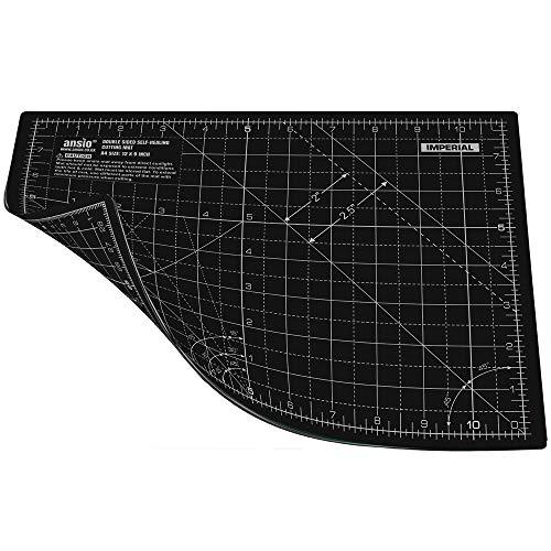 ANSIO Base de Corte A4 Doble Cara Auto curación 5 Capas para Costura y Manualidades - Alfombrilla de Corte Profesional - Imperial/métrica 11 Pulgadas x 8 Pulgadas / 29cm x 21cm - Negro
