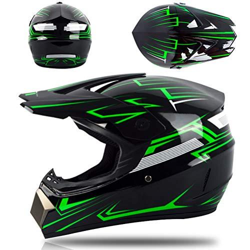 Eeneme Casco profesional de motocross, motocross, dirt bike, off, road, juego completo de casco para bicicleta de montaña, con guantes y protector facial