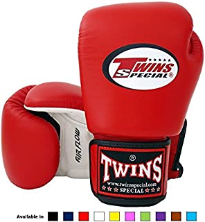 Twins Special Muay Thai Boxing Gloves (Air Flow - White/Red/Black, 16 oz)
