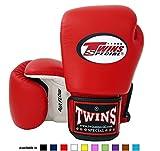 Twins Special Muay Thai - Guantes de boxeo (flujo de aire, blanco/rojo/negro, 16 onzas)