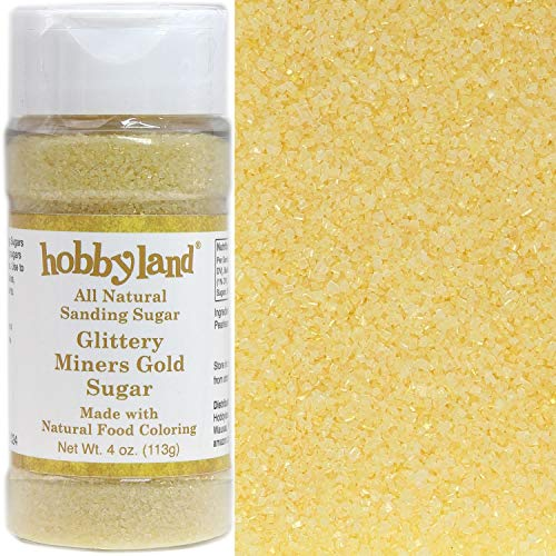 Hobbyland Sanding Sugar (Glittery Miners Gold Sugar, 4 oz) Handcrafted with All Natural Food Coloring, Gold Shimmer