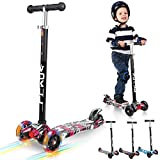 Vokul 3 Wheels Kids Mini Kick Scooter wiht LED Flashing Wheels & Adjustable