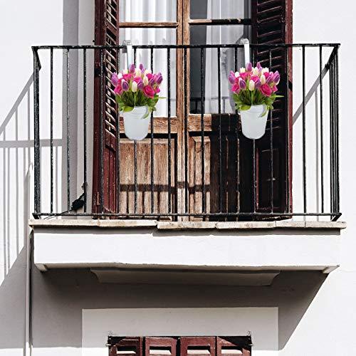 esto24® 6er Set Hängetopf Pflanztopf Übertopf mit Haken Silber Zink Blumentopf Vase Balkon Garten - 3