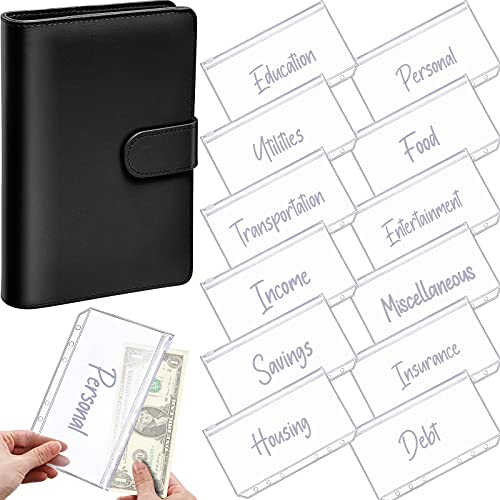 A6 PU Leather Notebook Binder Planner Budget Organizer Round Ring Binder Cover Magnetic Personal Planner Binder with 12 Binder Pocket Binder Zipper Folders for Bill Planner (Black, White Printing)