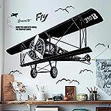 WandSticker4U®- XL Wandtattoo vintage FLUGZEUG schwarz I