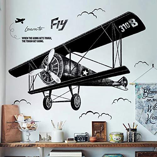 WandSticker4U®- XL Wandtattoo vintage FLUGZEUG schwarz I Wandbilder: 130x93 cm I Wand-aufkleber Retro Flieger Jet Poster I Deko für Wohnzimmer Schlafzimmer Jugendzimmer Junge Teenager