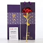 lingwei valentines day gift 24k golden foil rose flower gold dipped roses artificial flower for mother's day, thanksgiving day, birthday, anniversary, wedding, christmas (red rose)