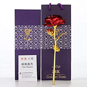 lingwei valentines day gift 24k golden foil rose flower gold dipped roses artificial flower for mother's day, thanksgiving day, birthday, anniversary, wedding, christmas (red rose) silk flower arrangements