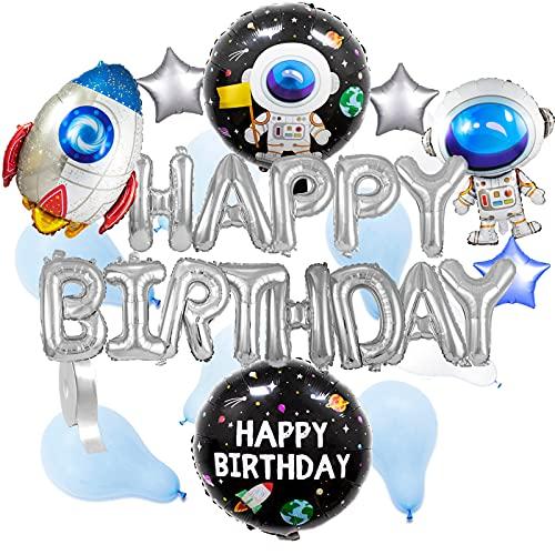 LASE C9, Globos de Cumpleaños Happy Birthday con Dibujos Y Formas. Incluye pegatinas adhesivas y Cuerda. Decoración Happy Birthday, Feliz Cumpleaños.120 unidades. (Happy Birthday Espacial)