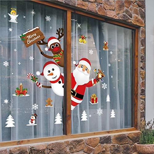 Merry Christmas Pegatinas,Pegatinas Navidad Ventanas,Calcomanías Electrostáticas Ventanas,Pegatinas de Navidad para Ventanas,Decoracion Ventana...