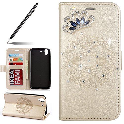 Uposao Kompatibel mit Lederhülle Huawei Y6 II Handyhüllen Kristall Glitzer Strass Ledertasche Henna Mandala Blumen Muster Lederhülle Brieftasche Flip Case Cover Klapphülle mit Kartenfach,Gold