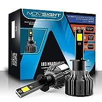 NOVSIGHT H1 LEDヘッドライト電球10000LM(5000LM * 2)72W(36W * 2)6000Kクールホワイト、変換キットヘッドライト電球ハロゲンヘッドライト交換用360度照明-2年間の保証