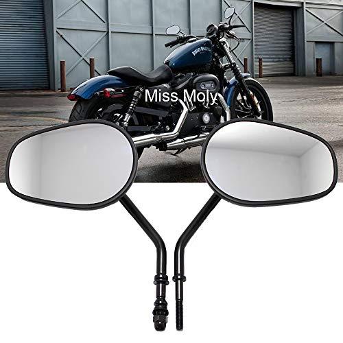 8mm Specchietti Laterali Moto per Sportster 1200 XL883 Dyna Softail Fatboy Road Glide Rocker (#2- Nero)