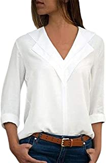 Fashion Women's V-Neck Chiffon Solid Color T-Shirt Office Women's Solid Color Roll Sleeve Shirt Top