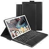 Beleuchtete Tastatur Hülle mit Touchpad für Samsung Galaxy Tab A7 10.4 Zoll T505/T500/T507, Wiederaufladbare Abnehmbare QWERTZ Funktastatur mit Trackpad & Schutzhülle, Deutsches Layout,Schwarz