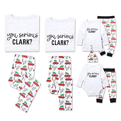 Family Christmas Pajama Set You Serious Clark? White Top Xmas Tree& Car Pants 2 Piece Home Sleepwear (Kid, 100 (3-4T))