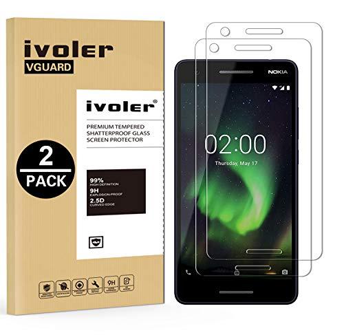 ivoler [2 Stücke] Panzerglas Schutzfolie für Nokia 2.1 / Nokia 2 2018 [9H Festigkeit] [Anti- Kratzer] [Bläschenfrei] [2.5D R&e Kante]