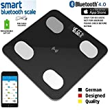 Adofys Smart Bluetooth Body Fat Scale, Accurate Measurements Weight, BMI, Body Fat, Muscle Mass, Water, BMR, Bone Mass and Visceral Fat, Work with IOS App Okok International (Black)