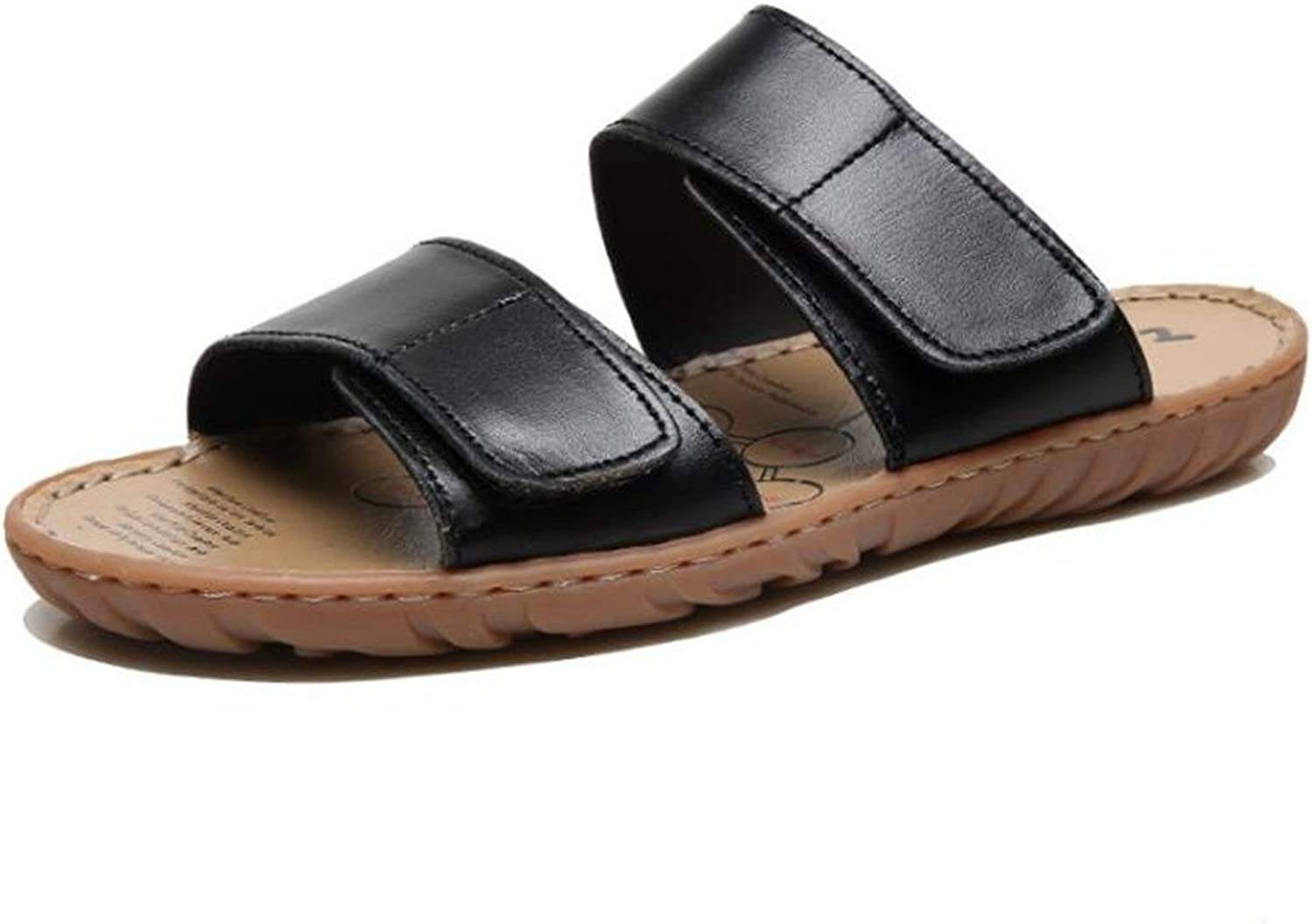 MSFS Men Leather Beach Slipper Classic Open Toe Sandals Velcro Size 38To 45