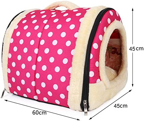 ANCOUS Nid d'animal de Compagnie et canapé-lit, Maison de Chat de Chien Pliable antidérapante et Hiver Doux Matelas Confortable 4 Style 3 Taille (L, Rose)