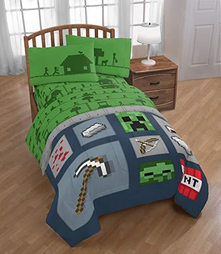 Minecraft - Juego de sábanas para niños (3 piezas), color verde