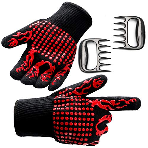 PAIU BBQ Meat Shredder Claws Ultra-Sharp Plus Oven Mitt Gloves with Extreme Heat/Cut Resistant/Non-Slip, 4pcs Essential Barbecue Tools Set for Roasting Grilling and Baking
