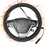 SEG Direct Heated Steering Wheel Cover Large-Size with 15.5 inches-16 inches Outer Diameter for F150 F250 F350 Ram 4Runner Tacoma Tundra Range, 12V Quick Heating Black Velour with Coiled Cord