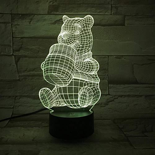 SHJDY vaas van Miele Di Beer, met rubber bekleed licht, nachtlampje, na,7 kleuren, 3D-slaapmonitor, flashled, stroomvoorziening etc, afstandsbediening, geschikt voor de decoratie van Della Stanza, kerstcadeau