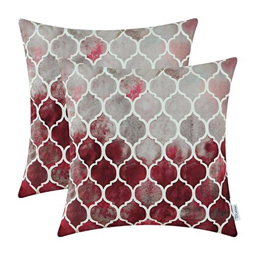 CaliTime Kissenbezüge Kissenhülle Kissenbezüge Packung mit 2 kuscheligen Kissenbezügen für Couchbett Sofa Manuelle handbemalte Bunte geometrische Gitterkettendruck 45cm x 45cm Hauptgrau Rot Burgund