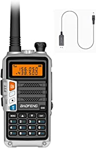 radtel UV-860 (UV-5R Newest Gen) 8 Watts Dual Band Rechargeable Long Range Two Way Radio UHF/VHF with USB Direct Charger & Earpiec (Silver)